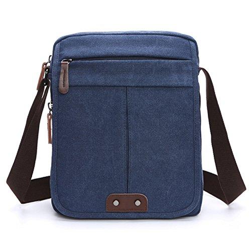 Outreo Vintage Umhängetasche Herren Taschen Canvas Schultertasche Herrentaschen Messenger Bag Kuriertasche für Tablet Reisen Sport Schule SportReisetasche Blau