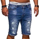 MT Styles Herren Jeans Bermuda Shorts Destroyed Hose X-6646 (Mod 3 - Blau, W38)