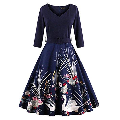 Haroty Damen Retro Druck V-ausschnitt 3/4-Arm Middle-Taille Swing Kleid Faltenrock Partykleid Abendkleid (M, (Jungen Kostüm Jahre 50er Kleinkind)