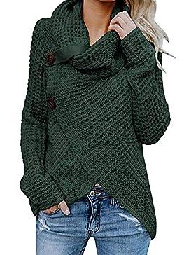 Jerseys De Punto para Mujer Cuello de Tortuga Manga Larga Suelto Prendas de Punto Suéter Irregular Jerséis Collar...