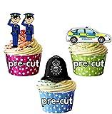 Cartoon Police Casque voiture Mélange à gâteau décorations–12décorations comestibles cup cake