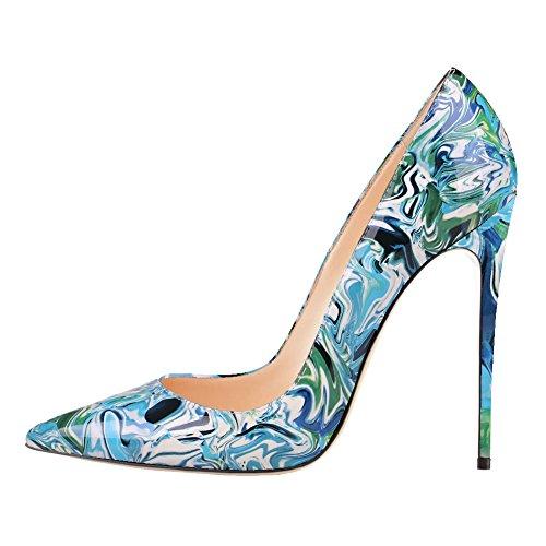 MERUMOTE Damen Y-046 Mode Druck Pointed-toe Kleid Pumpen Schuhe Stilettos Heels EU 35-46 Blau