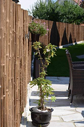 DE-COmmerce Robuster Bambus Holz Sicht Schutz Zaun ATY NIGRA I Hochwertiger Windschutz Terrasse, Balkon, Garten I Bambusrohr Zaun mit Geschlossenen Rohren