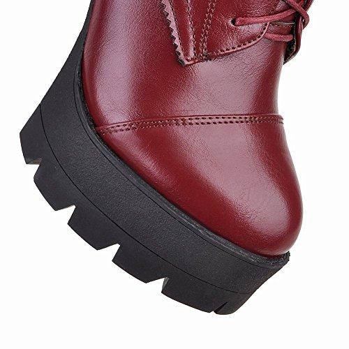 Mee Shoes Damen warm gefüttert chunky heels Schnürsenkel Plateau Stiefel Rot