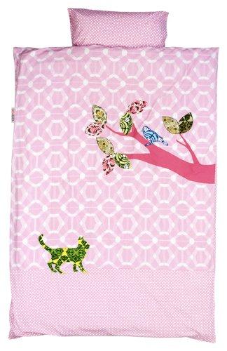 TAFTAN DS-411 Inke & Vogel Bettwäsche Set für klein Bett, 100 x 135 cm, rosa (Baby-vogel-bettwäsche)