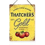 Thatchers Gold Cider–Metallschild, Nachbildung, Vintage-Stil, Retro-Barschild, 80er-Jahre