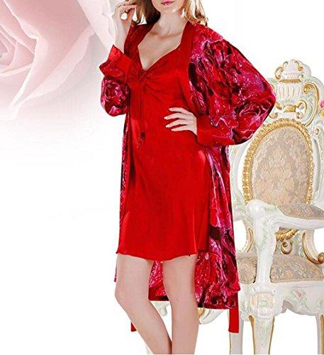 SZXC Frauen Sexy Satin Robes Braut Pfau Und BlüTen Kimono NachtwäSche Kleid Lange 2 Sets , scarlet , 165 (m) (Braut Läuft Kostüm)