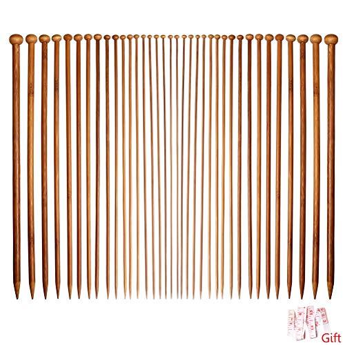 Ruiqiu, 36 ferri da maglia, in bambù, a punta singola, 18 misure, per principianti e professionisti