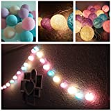 20 Balls Home Decoration Light Thai Cotton Balls String Series (LADI) Festival Lamp Creative Gift Diwali Christmas Wedding Halloween (US Socket PIN)
