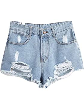 Donna Stile Occidentale Slim Fit Jeans Denim Pantaloncini A Vita Alta