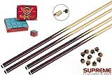 Supreme - Los 4 Billard-Billardqueues + Prozesse + Kreide