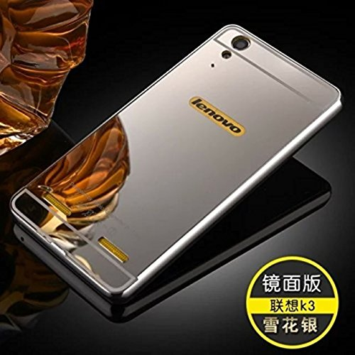 AE (TM) Luxury Metal Bumper + Acrylic Mirror Back Cover Case For LENOVO A6000/A6000 PLUSSILVER PLATED