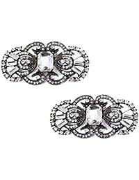 ElegantPark 2 Pcs Shoe Clips Antique Mask Design Rhinestones Wedding Party Decoration