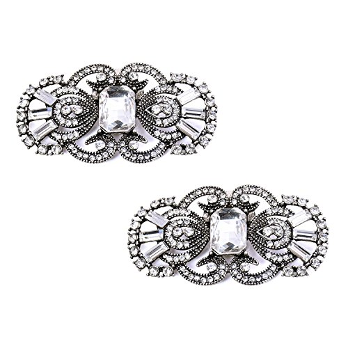 Elegantpark BG 2 Pcs clip di scarpe Antique Mask Design Strass Sposa Partito Decorazione Antique Argento