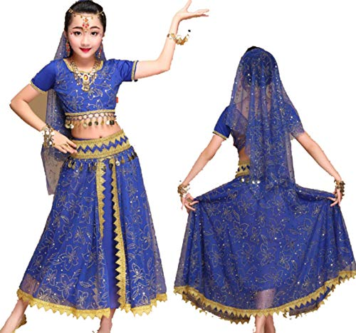 YZLL 5 StüCk Pailletten MäDchen Kinder Bauchtanz KostüM, MäDchen Genie KostüM Indien Bauchtanz Arabische Prinzessin Halloween KostüM,Blue,M