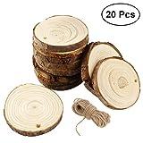Runde Holzscheiben, ULTNICE Runde Holz Stücke Holzscheiben Holz Scheiben Verzierungen DIY Craft 10-12CM mit Jute Twine Pack von 20