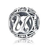 100% echtes 925 Sterling Silber Vintage A bis Z klare CZ Alphabet Buchstaben Beads für Pandora Charm-Armbänder, Armreifen und Halsketten (Buchstaben U)