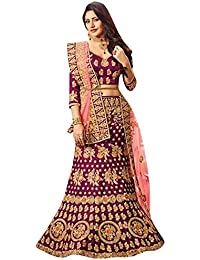 04da11b55982e8 Matindra Enterprise Womens Banglori Silk With Blouse Piece Lehenga Choli  MEA 1656 Purple Free Size