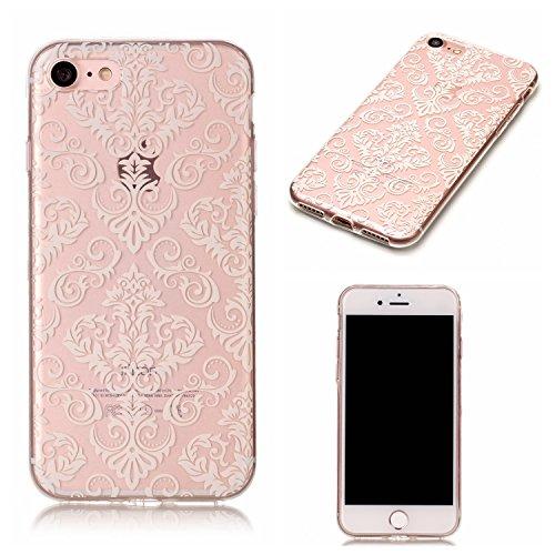 Linvei iPhone 7(4.7 inch) Coque,Ultra Mince / Anti-dérapant / Motif coloré Design TPU Silicone Shell Housse Coque Étui Case Cover pour iPhone 7(4.7 inch)-Mandala vert Fleur de totem blanc