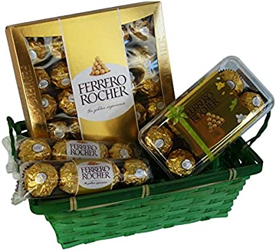 Cesta Regalo para Pascua, San Valentin, Navidad y Aniversario con Ferrero Rocher (4 piezas)