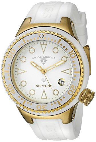SWISS LEGEND NEPTUNE FEMME 44MM CAOUTCHOUC BRACELET DATE MONTRE 11044D-YG-02-WHT