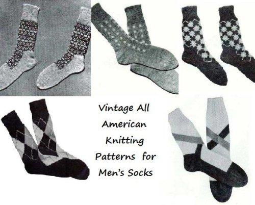 Vintage todos americano tejer patrones para los calcetines de los hombres por Unkown