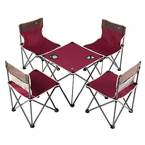 shuaishuang573 Aotu Compact Tragbare Falten Camp Stühle Tisch Set (4 Stühle + 1 Tabelle) -