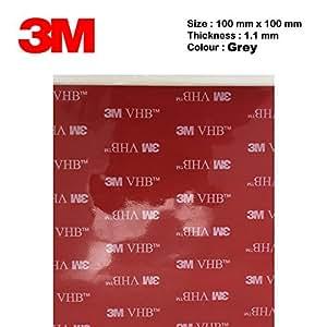 3M VHB 5952 Heavy Duty Ruban de montage noir mousse acrylique Double Sided Tape adhésif | Taille: 10 cm x 10 cm | Epaisseur: 1,1 mm | Couleur: Noir / Grey | Très haut Bond | au lieu de rivets, vis et autres fixation mécanique | Étanche | Sensible à la pression