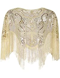 PrettyGuide Women's 1920s Shawl Vintage Sequin Fringed Bolero Flapper Evening Cape