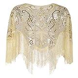 PrettyGuide Damen Hochzeit Bolero Perle Pailletten Inspiriert 1920s Gatsby Abend Warps Champagner