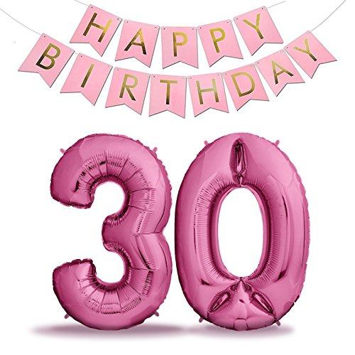 ns 30 Pink + Happy Birthday Girlande | Riesen Zahlen-Luftballons | 40