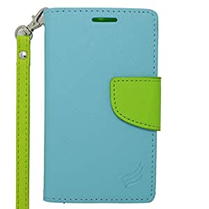 Eagle Cell Alcatel OneTouch Evolve 2 Flip Wallet PU Leather Protective Case - Retail Packaging - Green/Light Blue