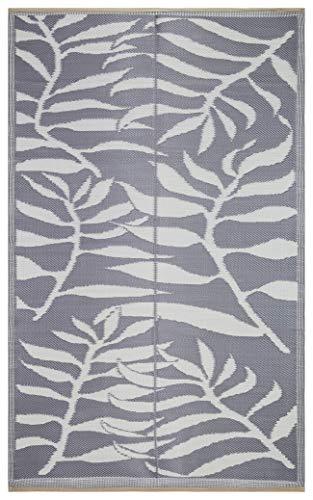 Beverly Rug Leichter, wendbarer Kunststoffteppich, für Innen und außen, 1,9 x 22,6 cm Leaf Grey/White -