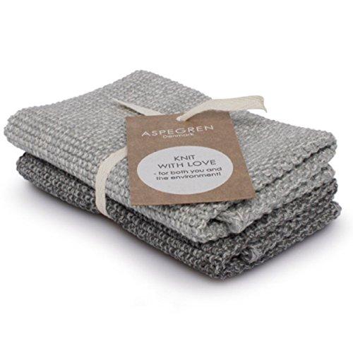 Aspegren Danemark - 2 Set vaisselle Nettoyage tricotée - Blend Gray