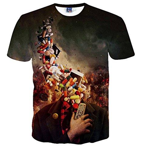 Yonbii Herren T-Shirt Mehrfarbig Mehrfarbig Multicolored-A9