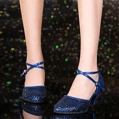 Donna Banchetto Latino Stanza Ballo Scarpe Blue