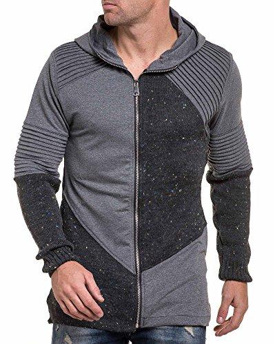 BLZ jeans - Gilet sweat zippé homme gris nervuré Gris
