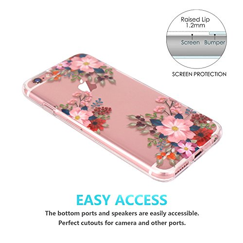 iPhone 6 Hülle, iPhone 6S Hülle, JIAXIUFEN TPU Silikon Schutz Handy Hülle Transparent HandyHülle Schutzhülle Case Cover Huelle Handyhuelle für Apple iPhone 6 6S - White Flower Mandala Three Pink Flower Fruit