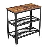 VASAGLE bijzettafel, deco tafel met 2 rasterplanken, salontafel, gang, woonkamer, slaapkamer, kantoor, smal, stabiel, ruimtebesparend, eenvoudige montage, industrieel ontwerp, vintage, donkerbruin LET33BX