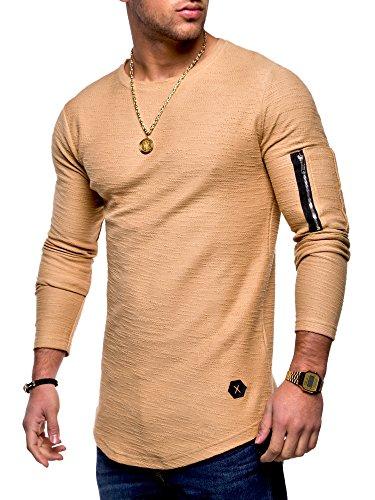 MT Styles Herren Oversize Sweatshirt Pullover Hoodie MT-7310 [Beige, M]