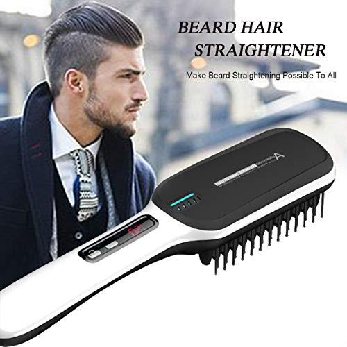 Peine eléctrico profesional para barba, alisador y rizador de barba, tecnología de calefacción de cerámica con cerdas desenredantes sin encrespamiento, antiderrame y apagado automático