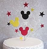Mickey Mouse Birthday Cake Topper rot, weiß, schwarz, gelb, passend für 20cm Kuchen Plus 1m x 22mm Mickey Ripsband Plus Schleife