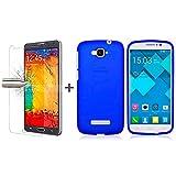 TBOC Pack: Blau Gel TPU Hülle + Hartglas Schutzfolie für Alcatel One Touch Pop C7. Ultradünn Flexibel Silikonhülle. Panzerglas Displayschutz in Kristallklar in Premium Qualität.