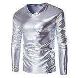 UJUNAOR Luxus Männer Metallisch glänzend Nasses Aussehen Langarm-T-Shirt Top Slim Fit V-Ausschnitt Bluse(EU 2XL/CN 3XL,Silber)