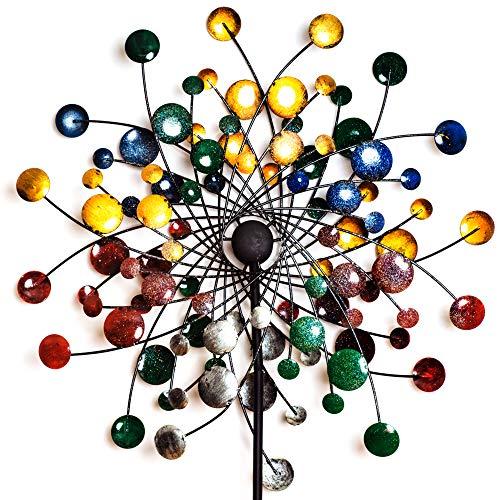 GemTune Garten Windrad Metall Spinner Windmühle in der bunten gemalten Confetti-Blumen-Art