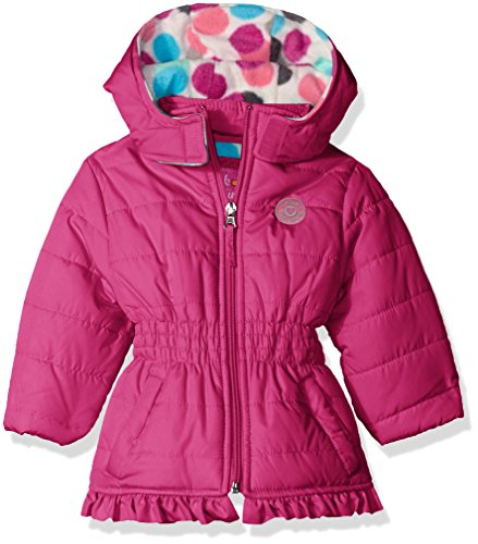 Pink Platinum Baby Girls' Infant Puffer Jacket with Big Dots Print Lining, Berry, 24 Months