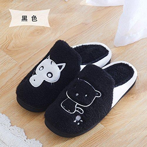 DogHaccd pantofole,Cartoon di cane e di gatto home pantofole inverno carino caldo cotone pantofole indoor uomini e donne pacchetto spessa con la coppia capelli pantofole Modelli femmina nero