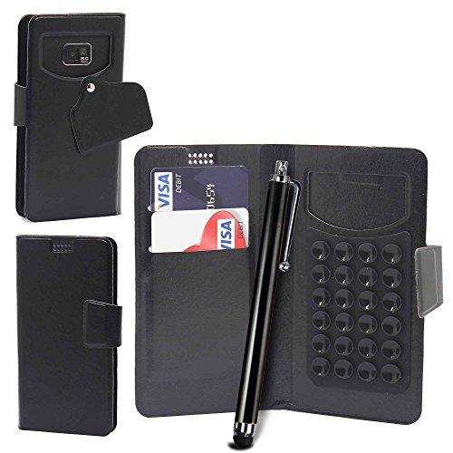 Pour HTC Desire 320 Portefeuille et étui de protection à ventouses en cuir PU très fin de très grande qualité avec des écouteurs stéréo intra-auriculaires mains libres - Blanc/White - par Gadget Giant Noir/Black - avec Stylet