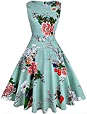 OWIN Women's Vintage 1950's Floral Christmas Dress Sleeveless Christmas Snow Dress Party Cocktail Dress