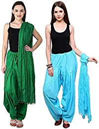 Green World Products Combo Of Pak Green & Light Rama 2 Colours Women & Girls Solid Cotton Mix Best Indian Ethnic...